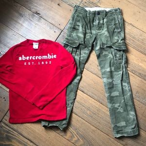 Abercrombie Kids Bundle camo cargo pants + L/S top